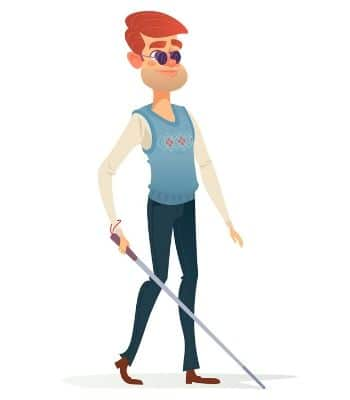 Blind man standing with his walking stick.