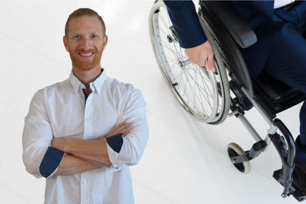 Ryan Sciamanna and a partial view of a person in a wheelchair.